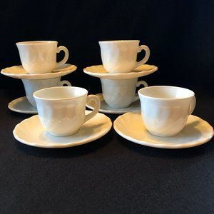 Milk Glass Demitasse / Espresso Cups and Saucers